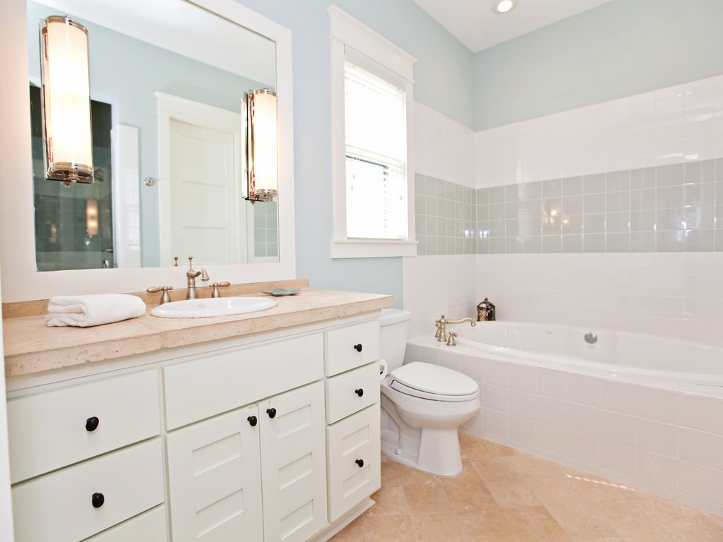 Beautiful bathroom with gorgeous soaking tub.