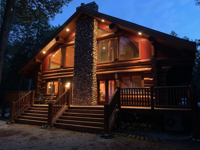 View of Sherwood Point Lodge at night!