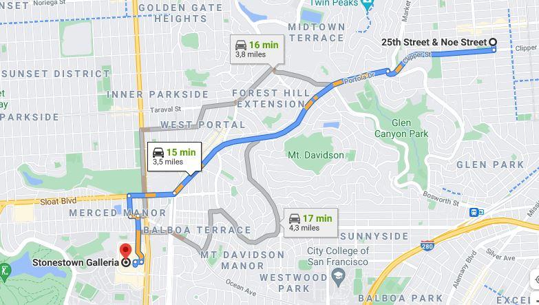 Distance to Stonestown Galleria