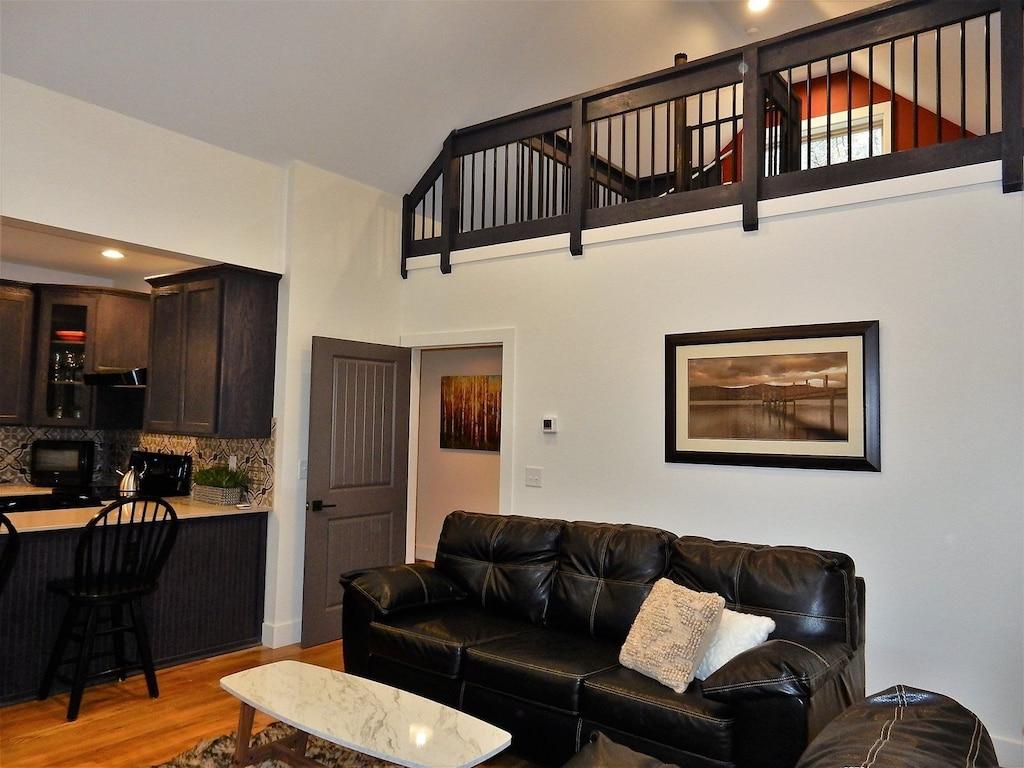 Living area showing upper loft