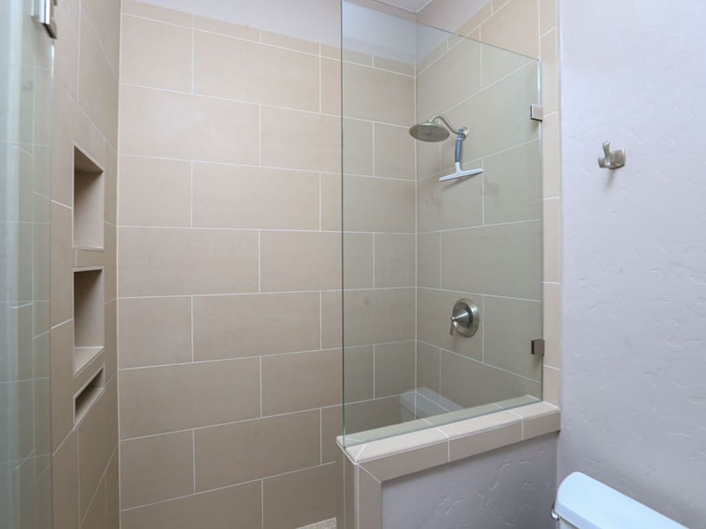 Beautiful frameless shower in master bathroom