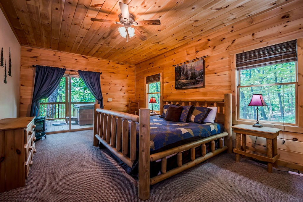 Main Floor Master King Log Bed