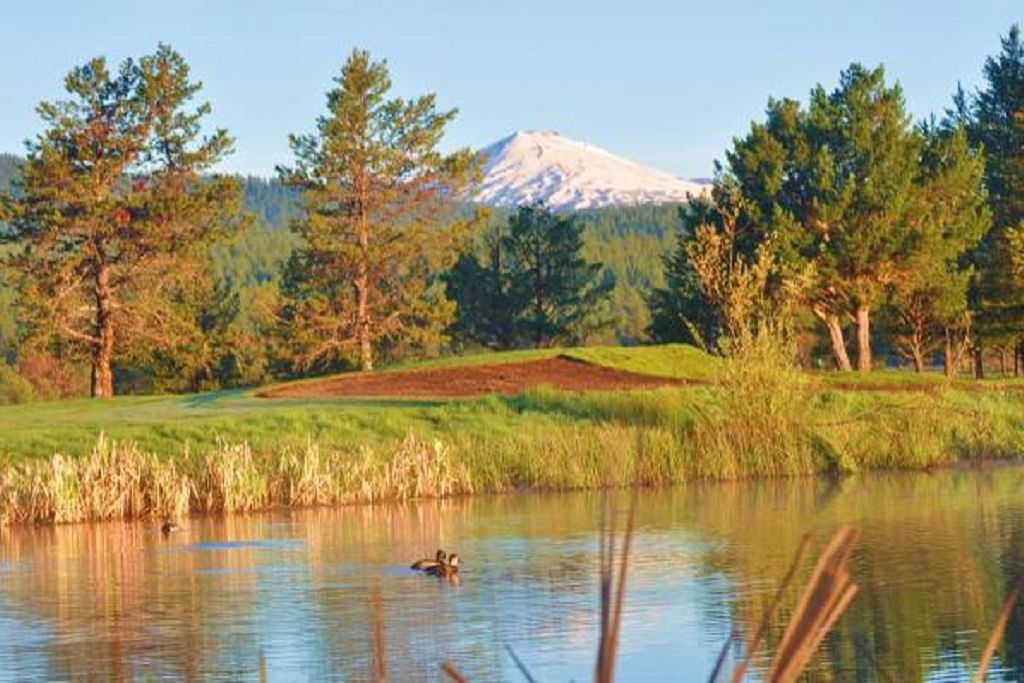 Mt. Bachelor in summer with the Deschutes River