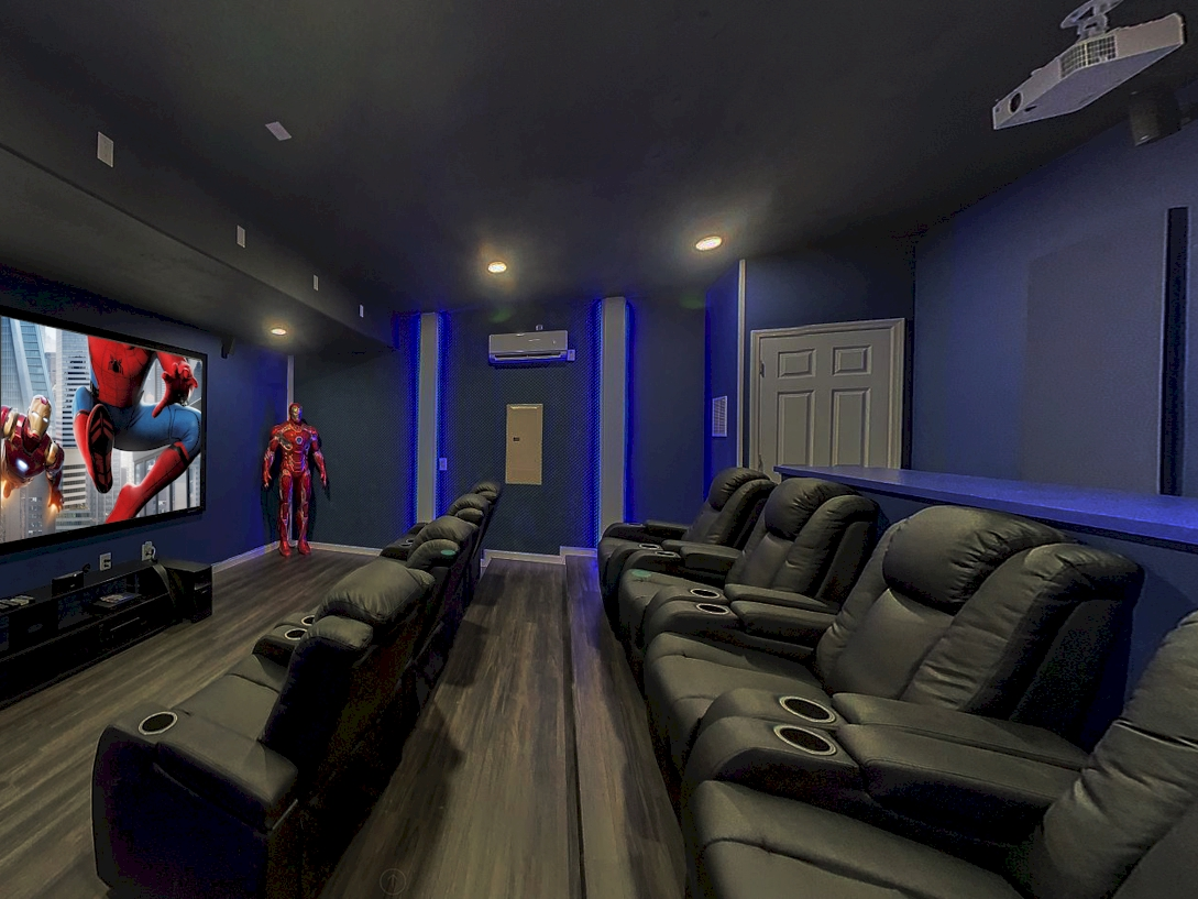 """Movie Theater-135"""" Screen-4K Projector-Surround Sound-Seating For 12"""