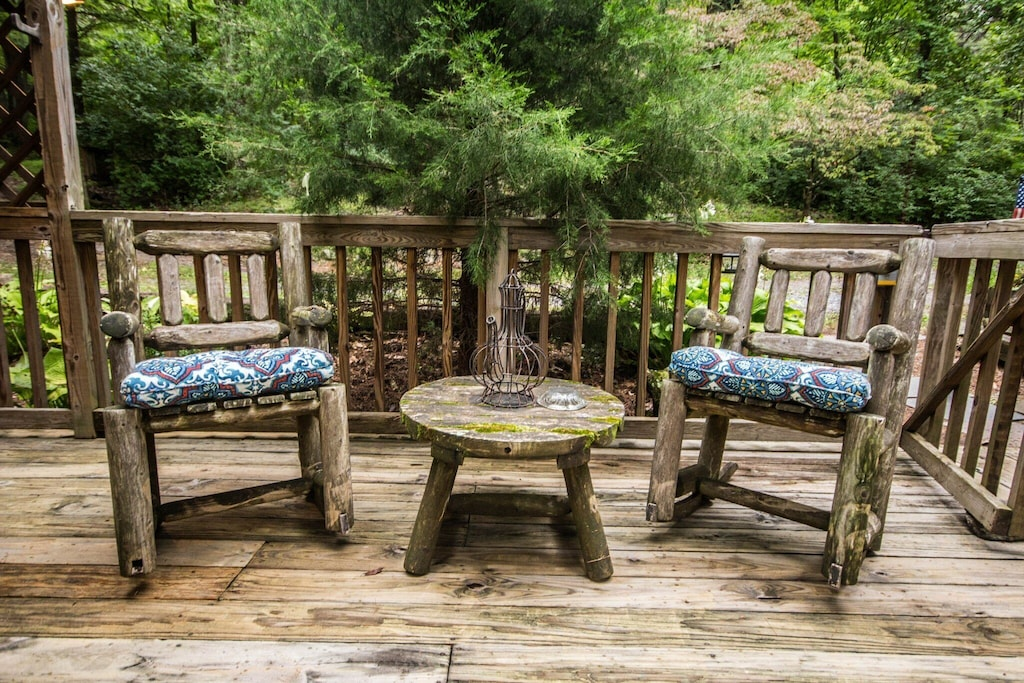 Plenty of outdoor seating to enjoy the peace and quiet of the woods