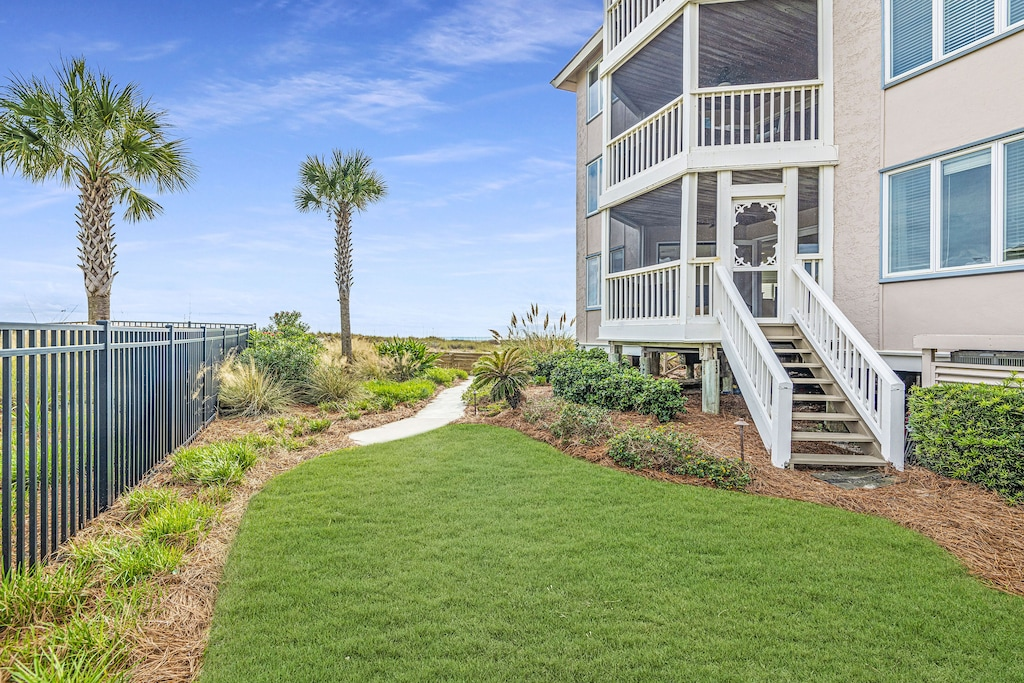 Private stairs from screen porch to pool & beach