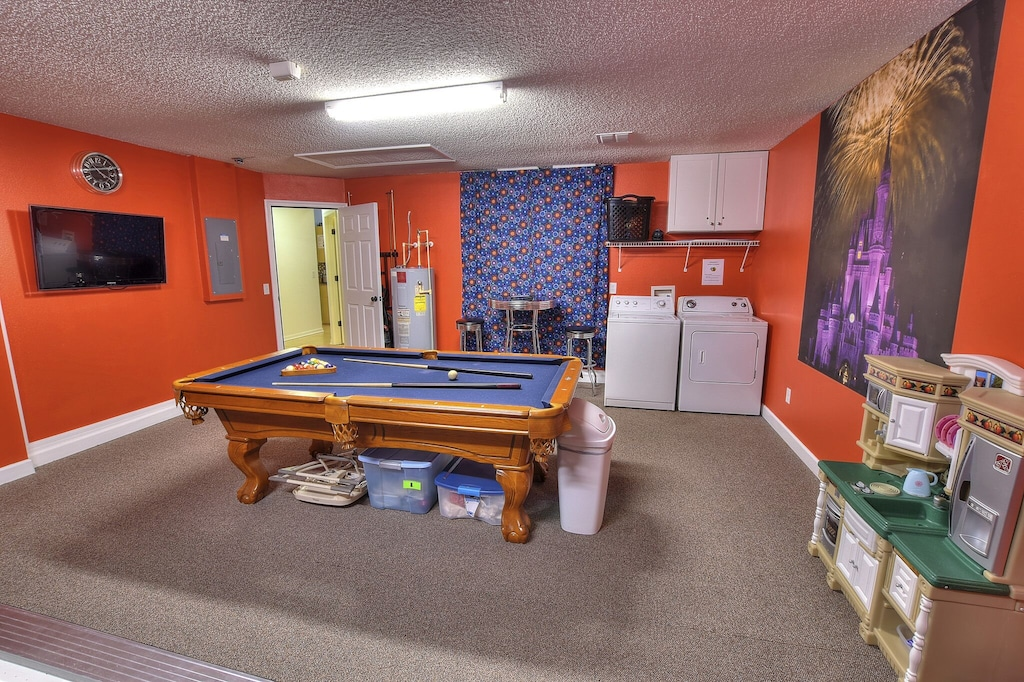 The pool table and laundry.