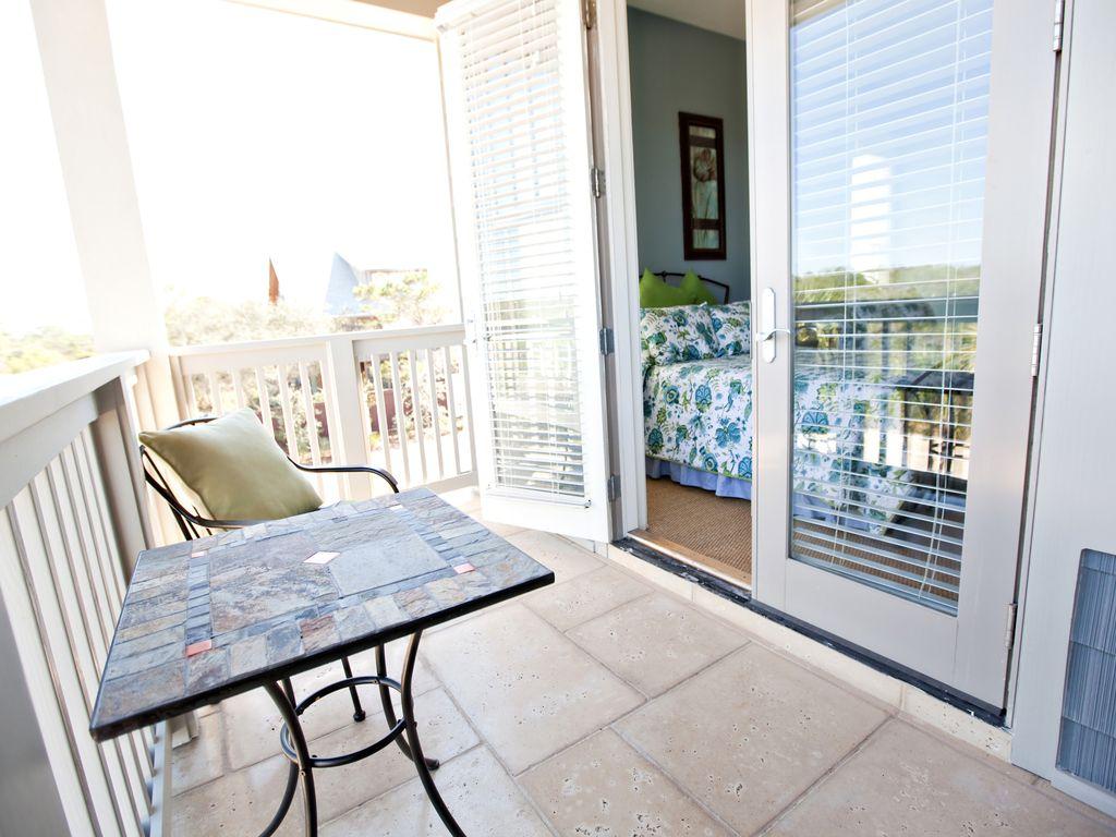 bedroom balcony over looks pool