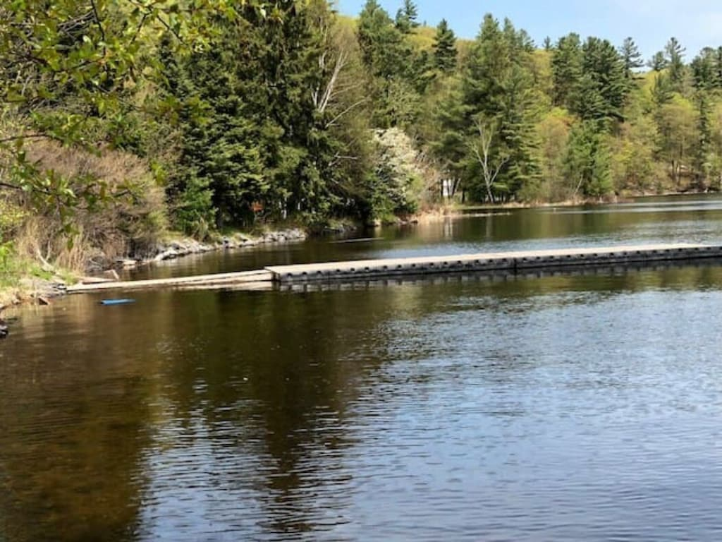 Great dock for fishing off of at the Algonquin Highlands Trail site