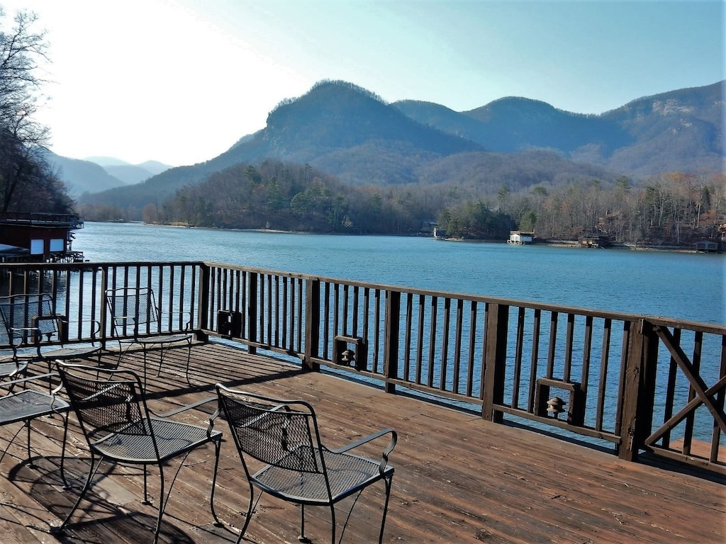 View of Lake Lure on the deck of Loose Moose Lodge