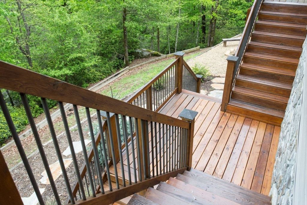 You can access lower levels via stairs on each side of the decks.