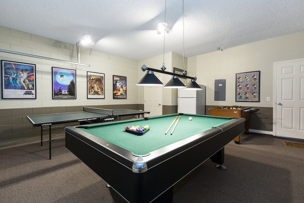 The game room pool table.
