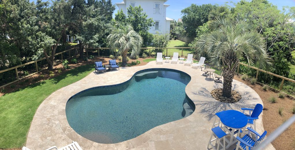 large pool and deck area for all day sun