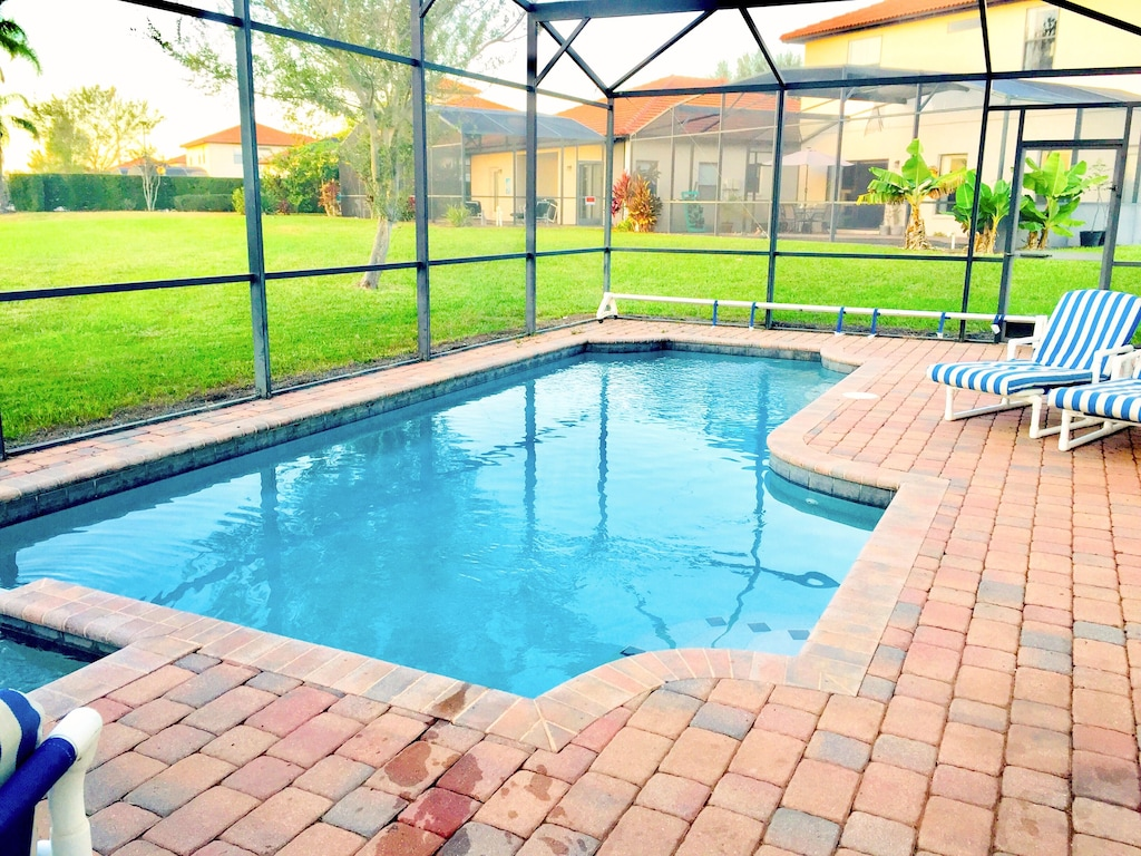Screened-in  PRIVATE pool/Spa with nice view