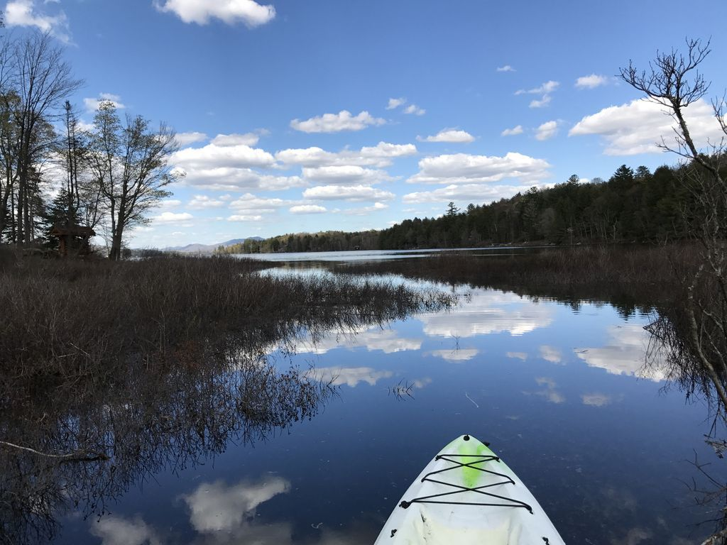 Kayak along a 100 foot path or so to lake