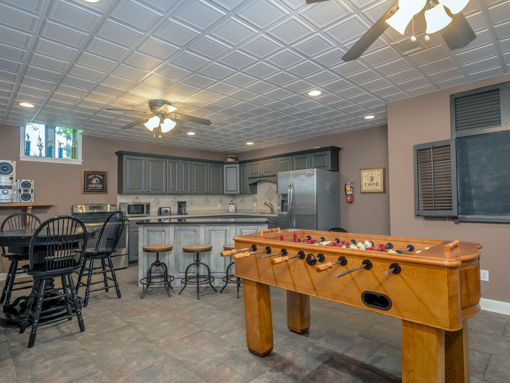 Basement recreation, kitchen and living space