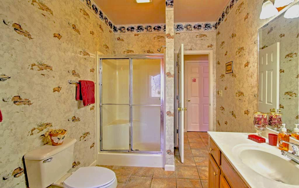 Hall Shared bathroom with shower and jetted tub