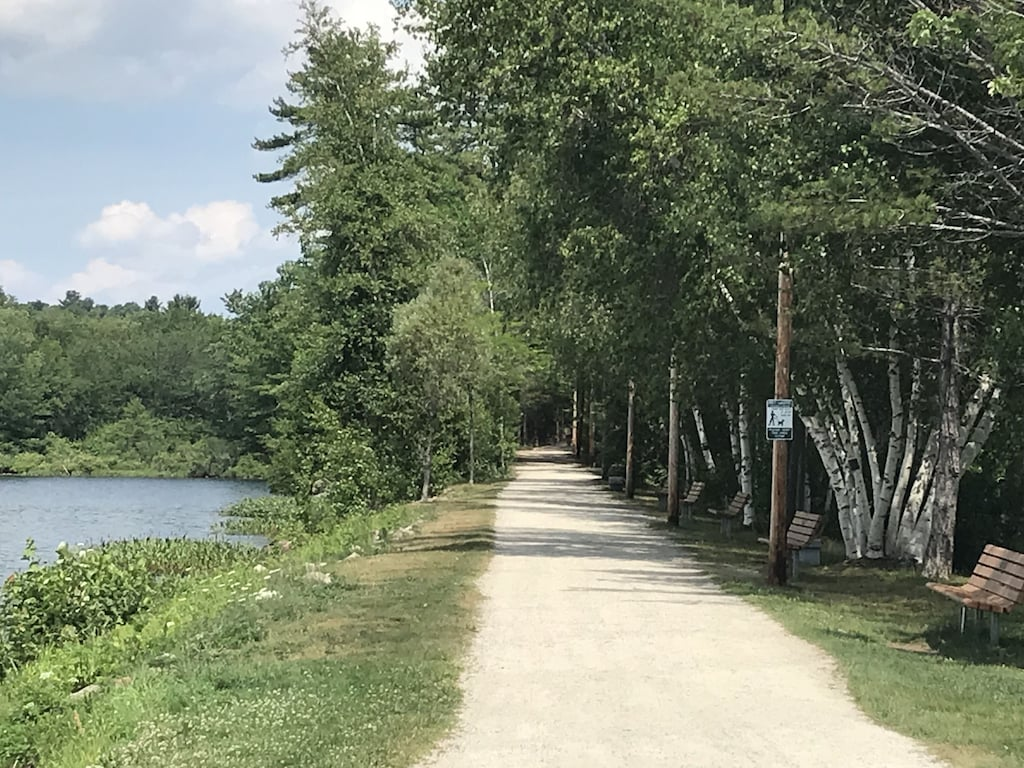 Wolfeboro bike path, 10 miles of trails, take a dip at Albee beach on the way back!