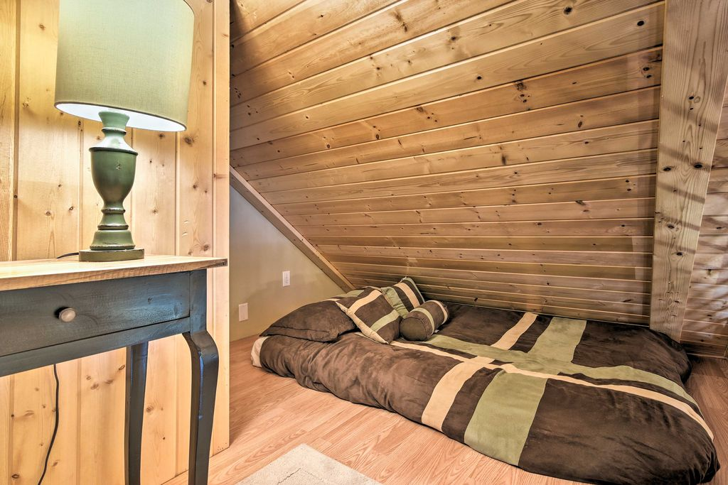 The full futon in the loft is best suited for younger people.