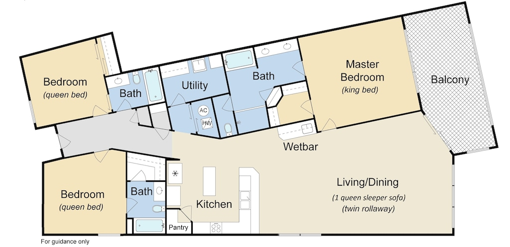 Floor plan with beds.