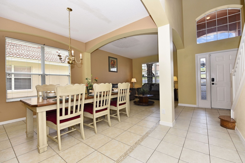 Open dinning room and living room