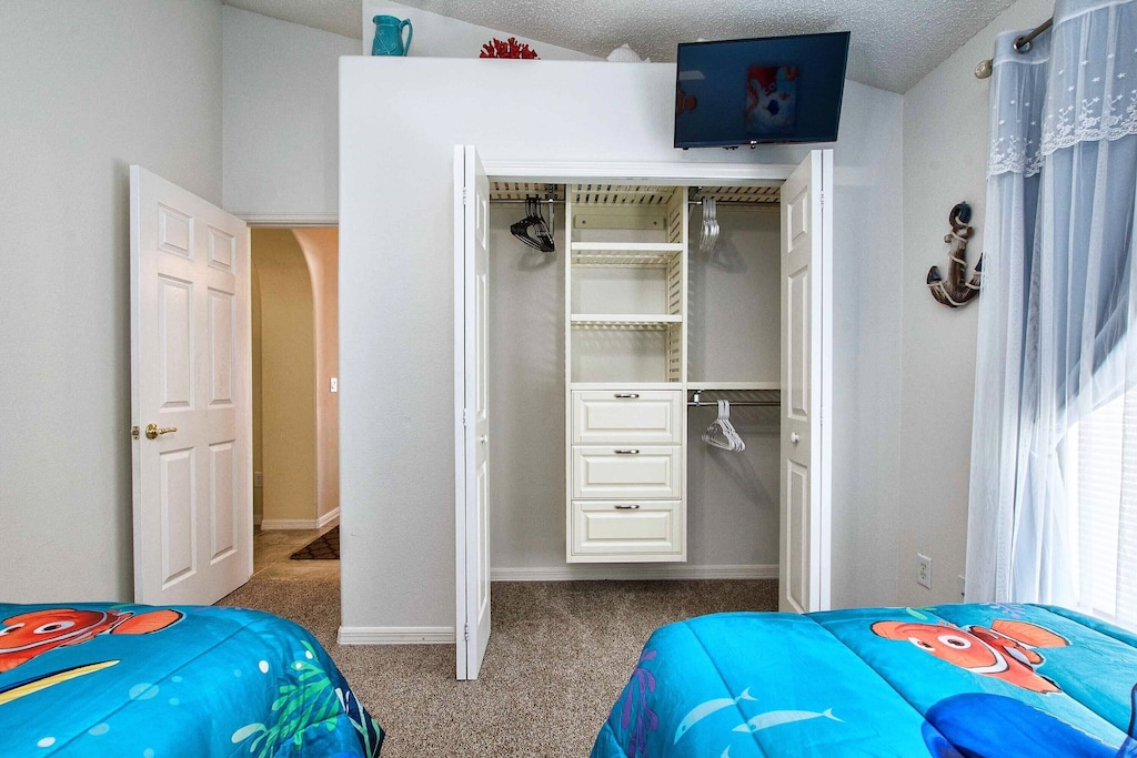 The closet organizer is a great substitute for a dresser.  TV above!