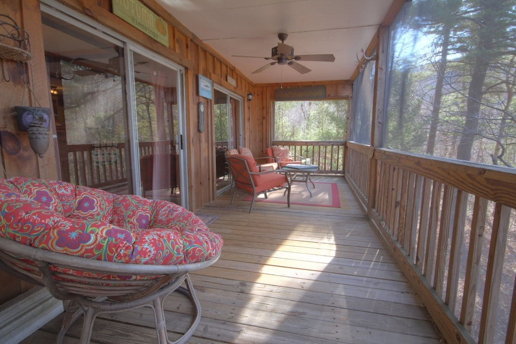 Screened-in porch where you can hang out with family and friends