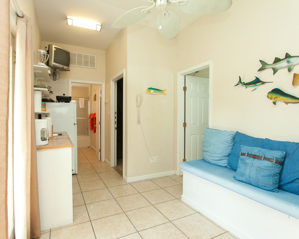 Guest Quarters has a kitchenette on first floor.