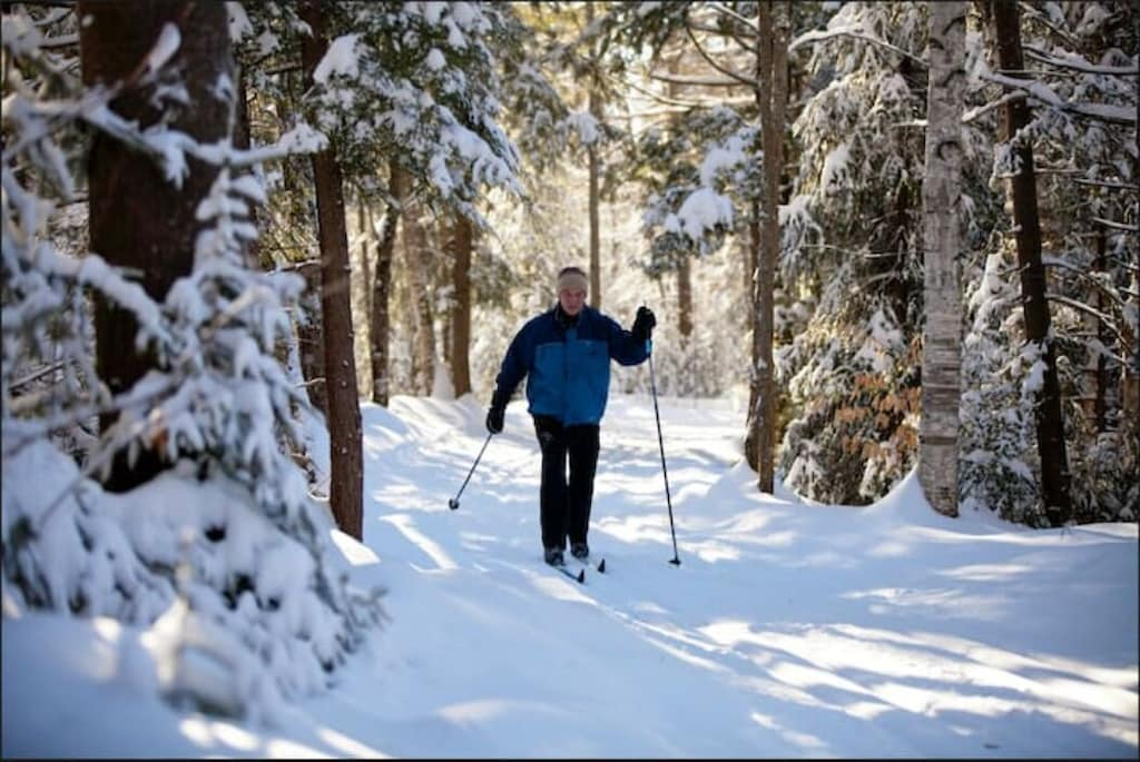 Cross country skiing through the trails