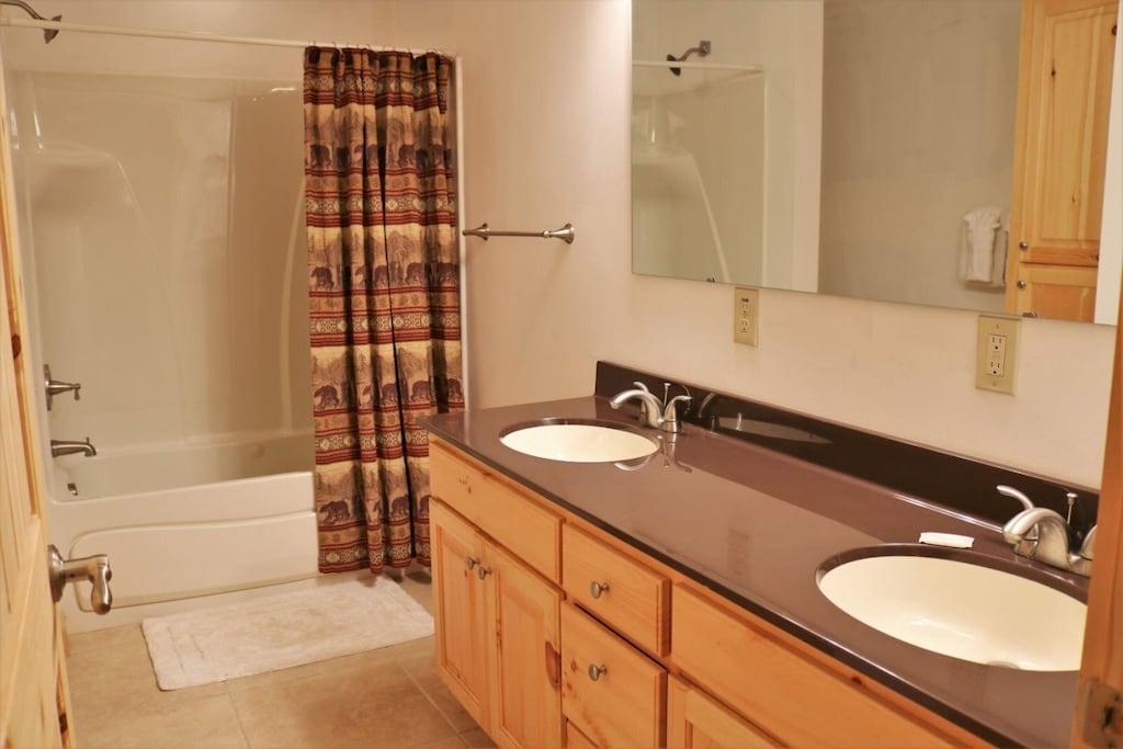 Lower level bathroom in queen bedroom