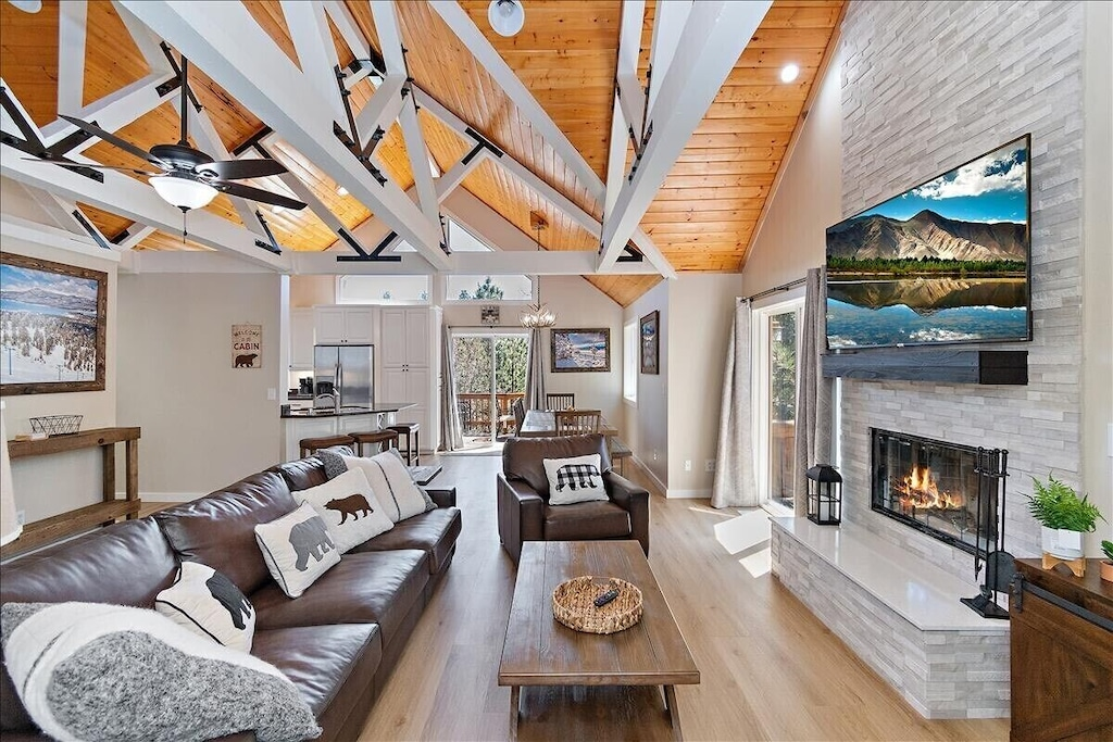 Open concept living room with room for everyone. Modern rustic finishes and local decor.