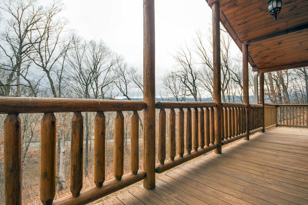 Large deck and porch space for taking in nature or watching the train go by (do you see the tracks?)
