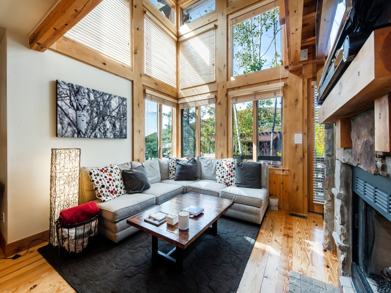 Main living - deck, TV, fireplace