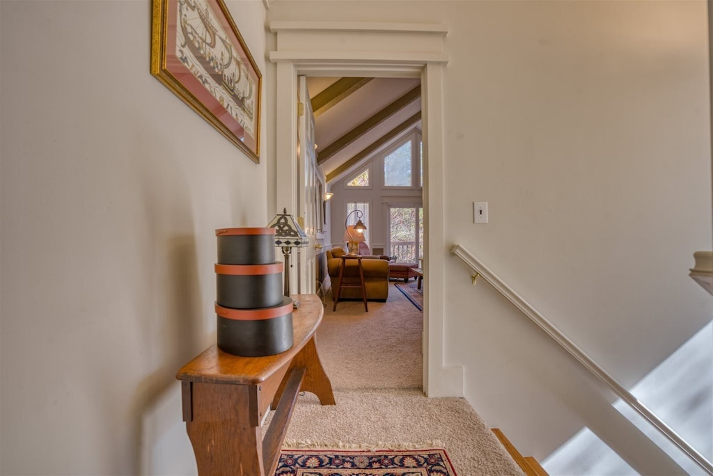 A short walk up the stairs to the guest bedroom and game room