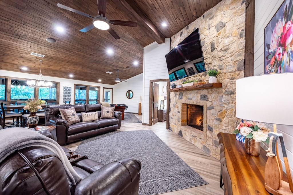 Snuggle up around the fireplace.