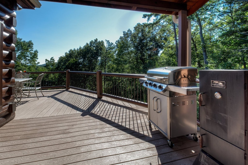 Gas grill and smoker on main level deck