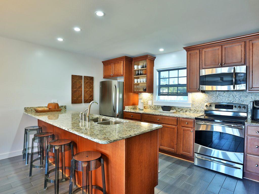spacious kitchen with GE Profile appliances