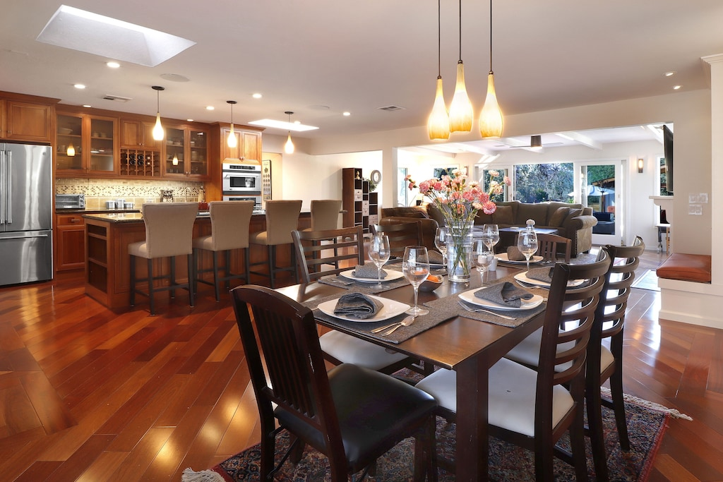 Open dining to kitchen and living room.