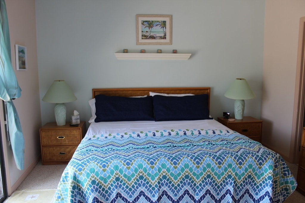 Master bedroom - King bed, night stands, lamps, dresser - private full bath
