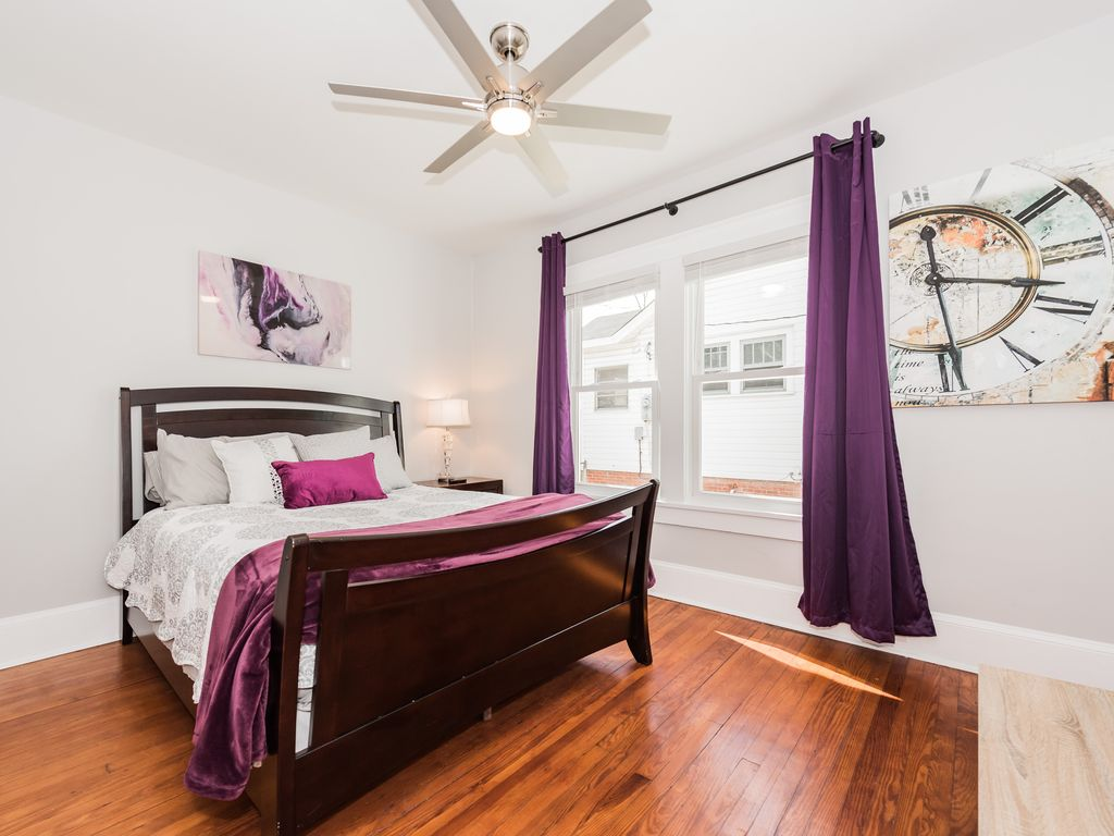 Queen bed, closet, duel fan/light, blinds and blackout curtains on windows.