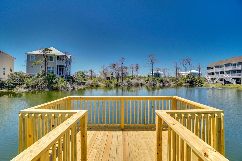Fishing Dock and Pier in one of the 3 stocked fishing ponds in Barrer Dunes