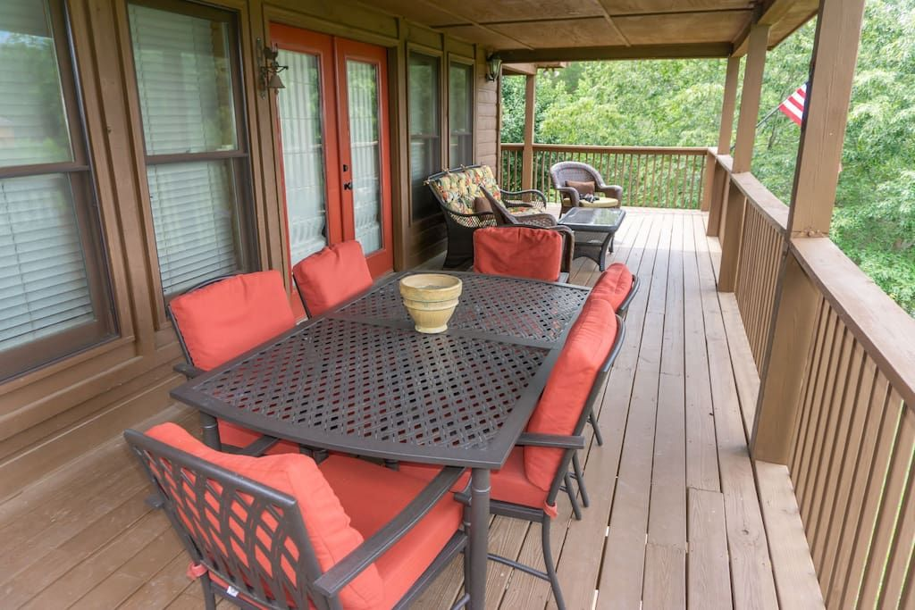 Dining table on main level deck