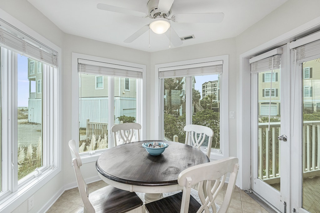 Dining area opens to front porch