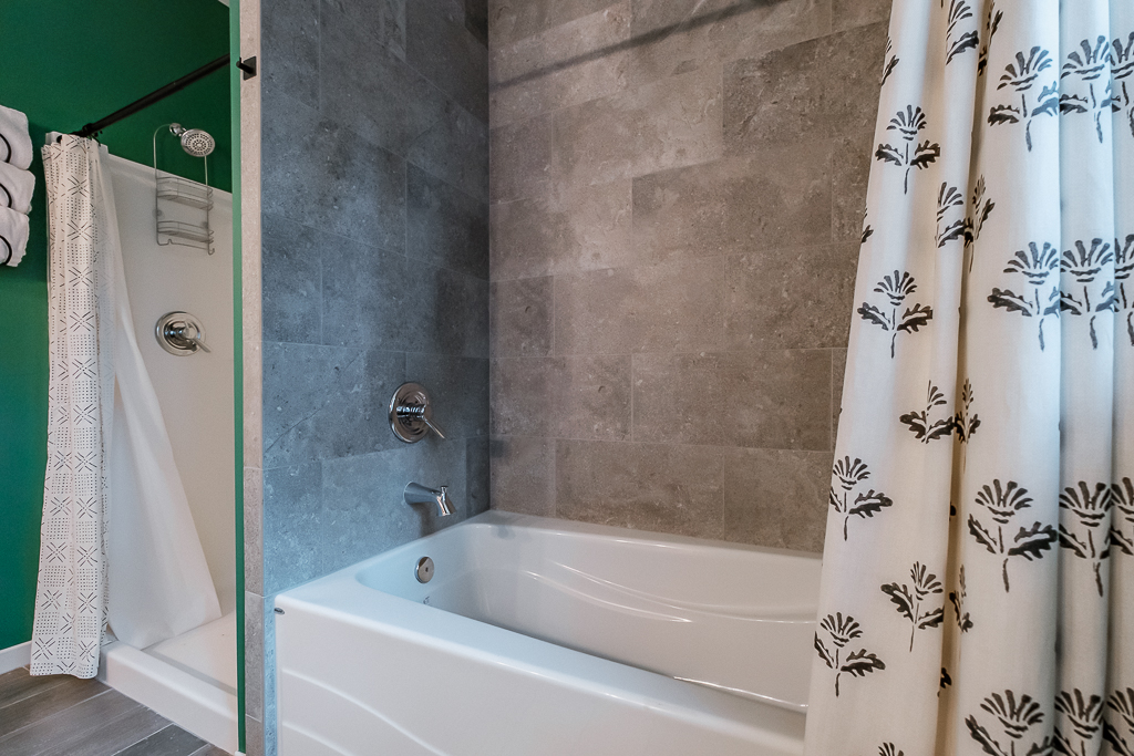Soaker tub will make you want to hang around.
