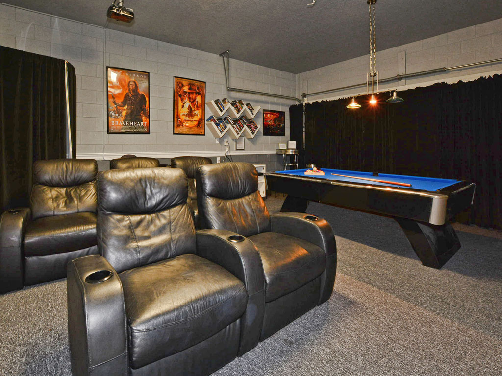 Game room features billiards and a movie theater w/ Roku.