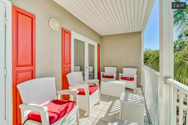 Spacious patio with beach / pool views