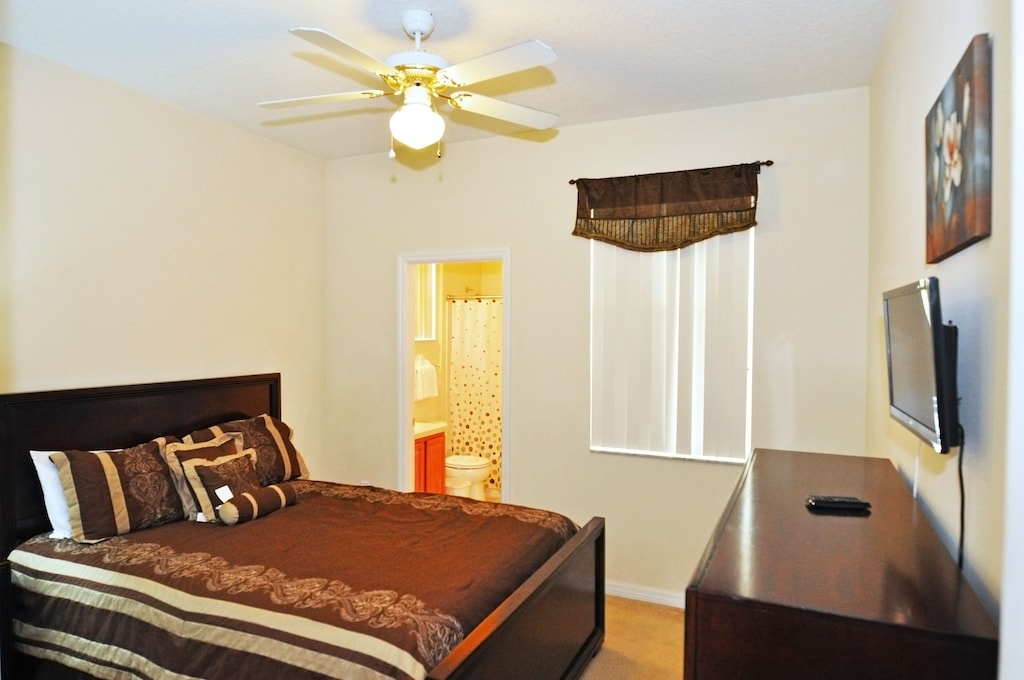 Queen bedroom with attached bathroom downstairs