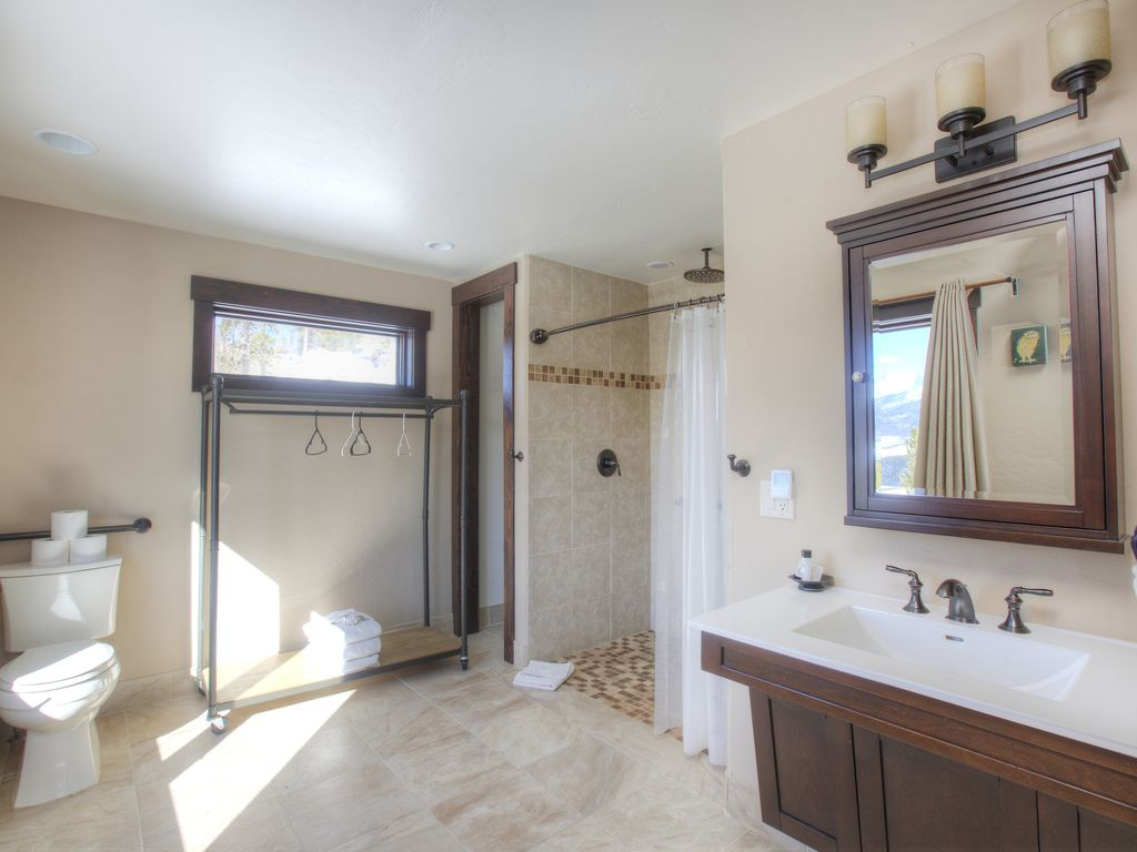 Master Bathroom #5 - Very large master bath for bedroom #5.  Shower with rainforest shower head.  Mountain sunset view!
