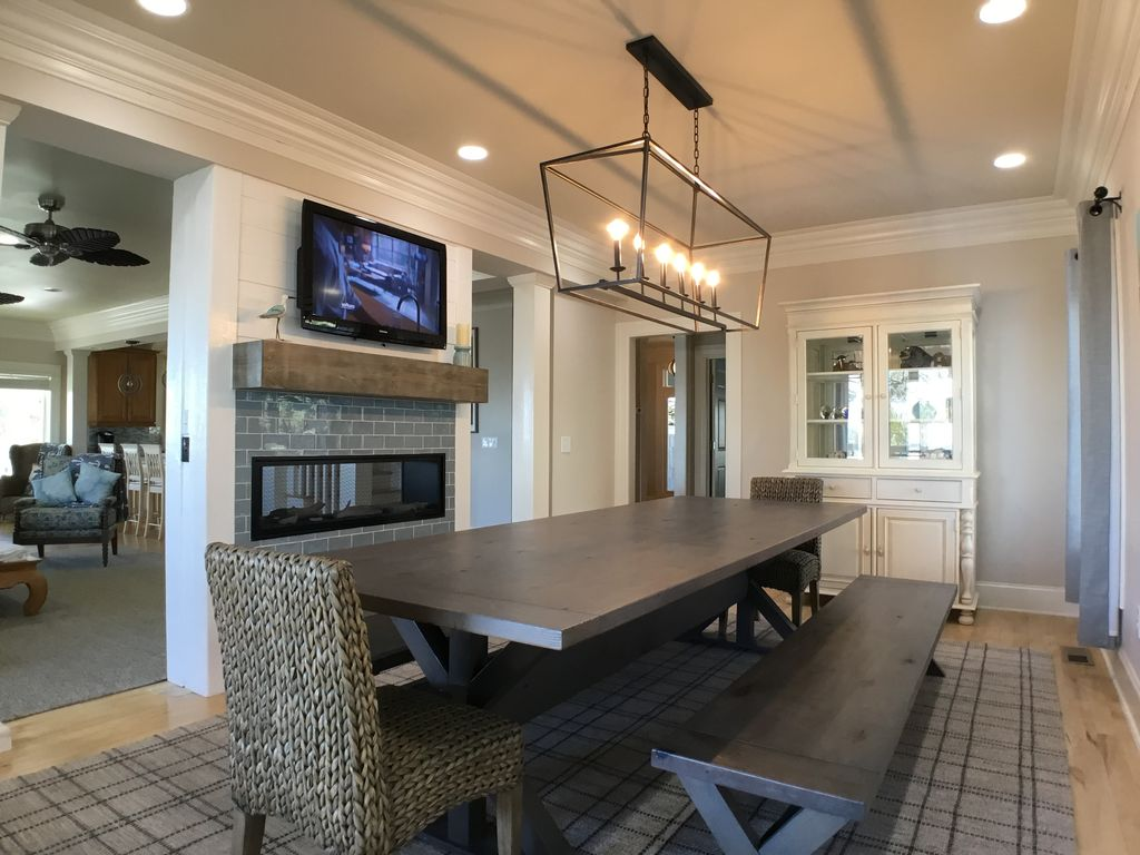 Dining Room, See Through Gas Fireplace, Custom Table and Keep Up with the Game!