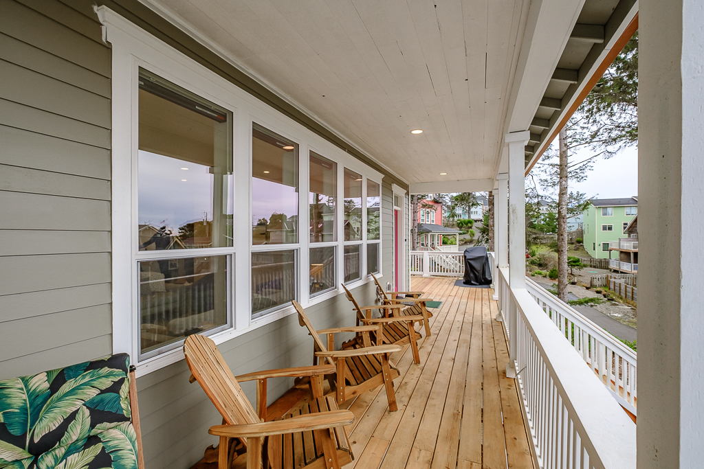 Wrap around ocean view deck is a treat.